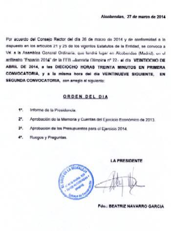 Orden del día Asamblea General 2014