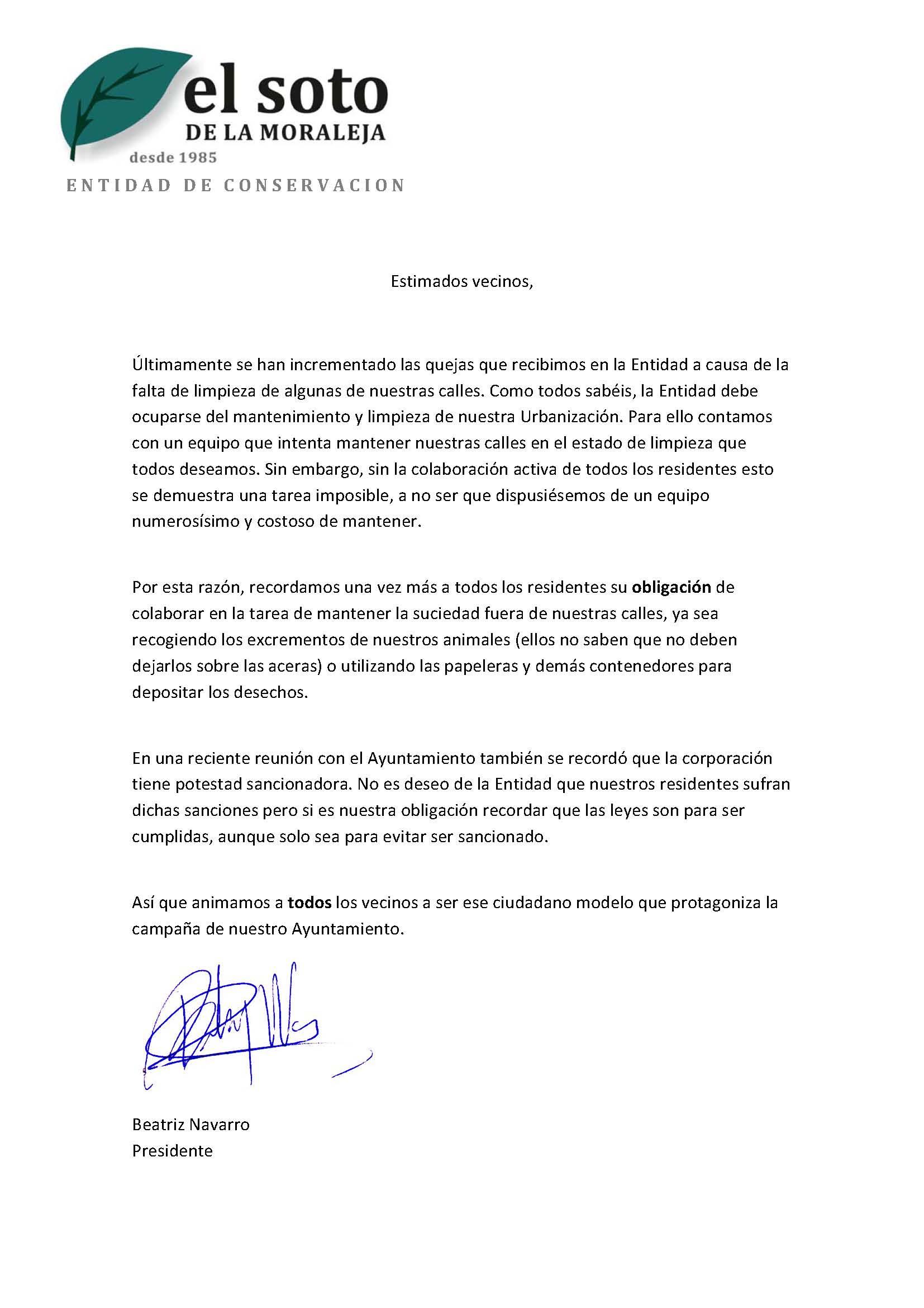carta de la presidente a los vecinos entidad de